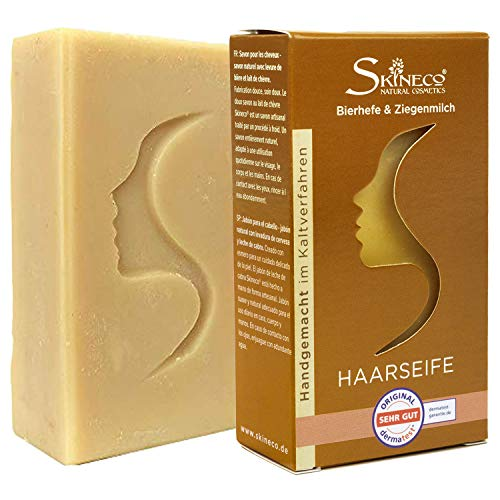 Skineco Haarseife   nachhaltige Ziegenmilchseife mit Bierhefe   handgemachte Naturkosmetik   festes Shampoo   sanfte Reinigung für empfindliche Kopfhaut   Seife für Haare   silikonfrei   Duschgel