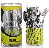 Besteck Set 6 Person mit Besteckkorb Grün | 24 teilig | Edelstahl - Spülmaschinenfest | Besteckset - Essbesteck mit Ständer