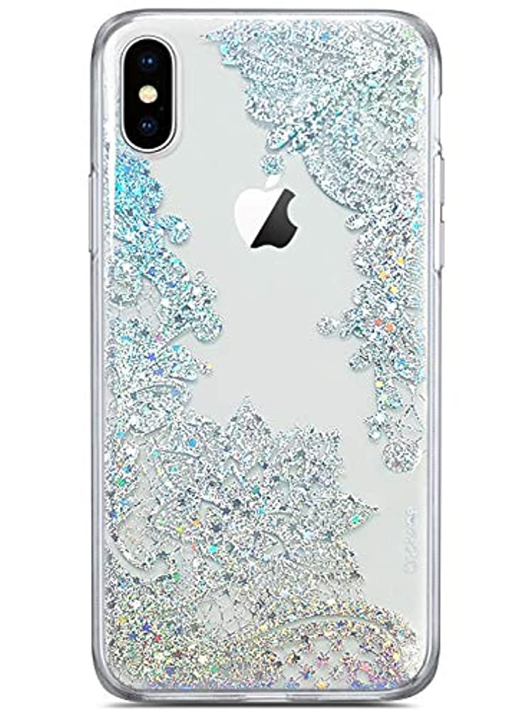 Coolwee Clear Glitter for iPhone Xs Max Case Thin Flower Slim Cute Crystal Lace Bling Shiny Women Girls Floral Plastic Hard Back Case Soft TPU Protective Cover for Apple iPhone Xs Max Mandala Henna