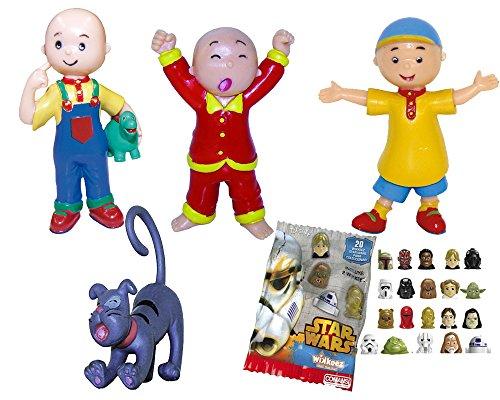 Comansi Lote 4 Figuras Caillou - Caillou en Pijama - Caillou con Gorra - Caillou Dino - Gilbert + Regalo