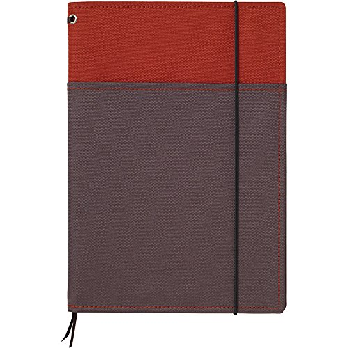 """Kokuyo Systemic Refillable Notebook Cover - A5 (5.8"""" X 8.3"""") - Normal Rule - 24 Lines X 40 Sheets - Red / Gray"""