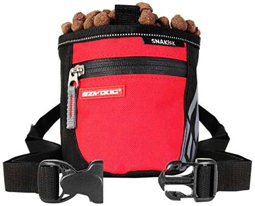 EzyDog Snak Pak Treat Bag - Leckerlitasche 650ml für Hundetraining mit Magnetverschluss - Farbe: rot