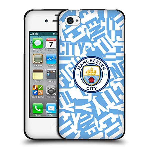 Head Case Designs Oficial Manchester City Man City FC Pelea de patrón Azul Cielo Gráficos Funda de Gel Negro Compatible con Apple iPhone 4 / iPhone 4S