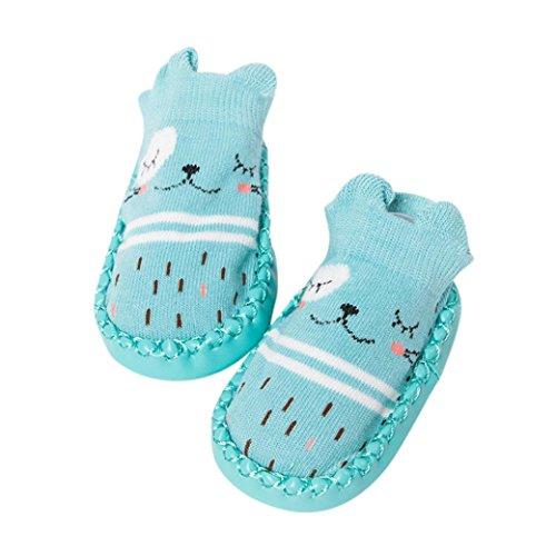 K-youth® Invierno Bebé Niñas Niños Indoor Zapatillas Piso Calcetines Patrón De Dibujos Animados Calcetines Zapatos Antideslizante Calcetines Botines (Verde, Edad:18-24M)