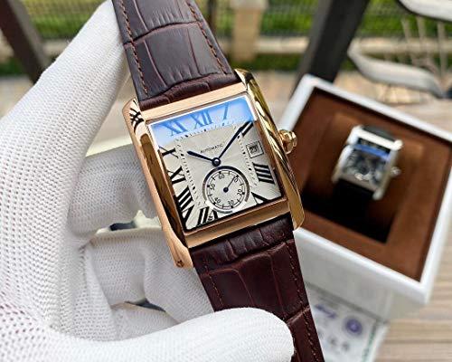 JFfactory Designer Marke Joker Leder Tank Uhr Herren Square Automatik Mechanisch Herren Uhren Saphirglas Rückseite Roségold Weiß