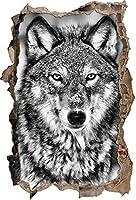 KAIASH ウォールステッカー 3Dルックウォールまたはドアステッカーウォールステッカーウォールステッカーウォールデコレーション92x62cmのモノクローム警戒オオカミ壁画期
