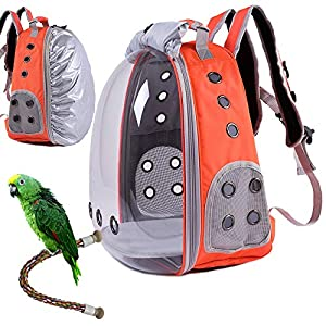 HUO ZAO Bird Carrier Backpack, Bird Backpack with Standing Rope Perch and Pads (Tangerine)
