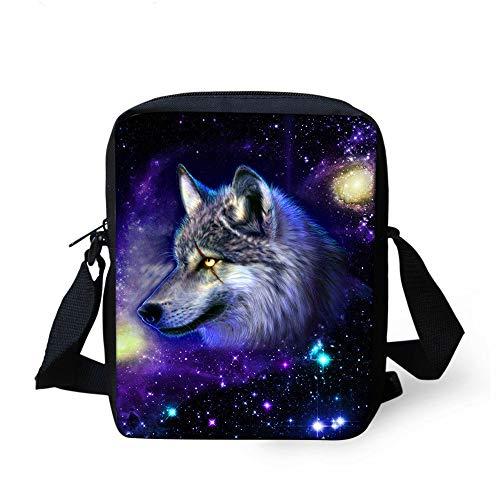 NUANDI 3D-Druck Wolf Schüler Handtasche Kinder Umhängetasche Schultertasche Rucksack Kinder Kleine Tasche Jugend Tasche