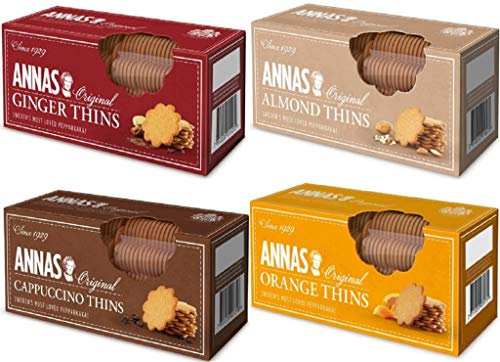 Annas Original Biscuit Selections - Orange Thins, Cappuccino Thins, Ingwer Thins & Mandel Thins Pepparkaka Biscuits