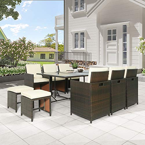 Leisure Zone 11-Piece Outdoor Rattan Wicker Patio Dining Table Set Garden Outdoor Patio Furniture Sets (11-Piece)