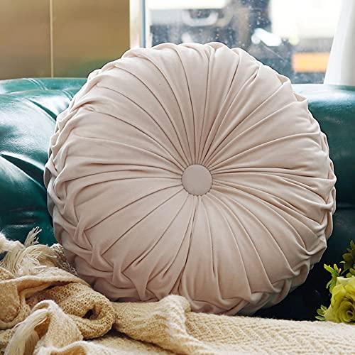 Boyigog Runde Kürbis Kissen, 38cm Samt Plissen Werfen Kissen, Kürbis-Stuhlkissen für Zuhause Sofa Stuhl Couch Bett Auto-Dekoration(Beige)