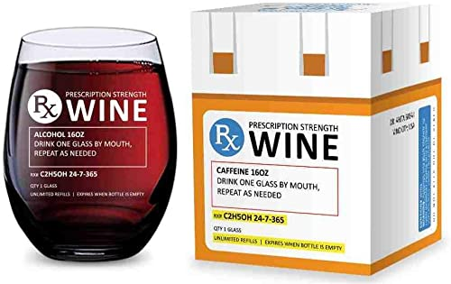 lowest Stemless Wine wholesale Glass for Pharmacist Gifts (Prescription) Made of Unbreakable new arrival Tritan Plastic and Dishwasher Safe - 16 ounces online sale