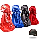 4PCS Silky Durags for Men 360 Waves, Designer Do Rag, Award 1 Wave Cap