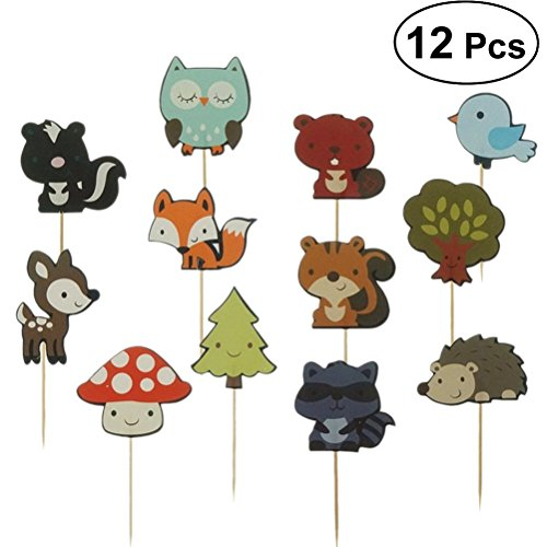 BESTOYARD Kuchendeckel Wald Tier Cupcake Dessert Dekoration Kuchen Picks für Kinder Geburtstagsfeier Baby Shower 12 Stücke