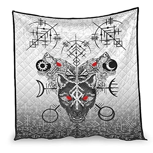 Ftcbrgifk Viking Skoll And Hati Fenrir Wolf cama de enfriamiento edredón transpirable verano ropa de cama blanca 230x260cm