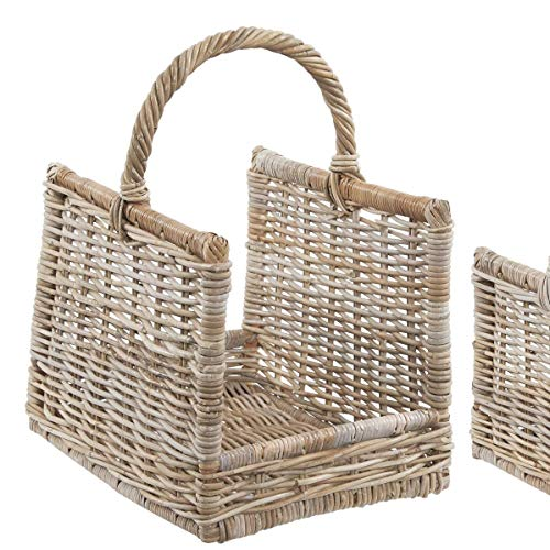 Wicker Log Basket Carrier Large Grey and Buff Rattan