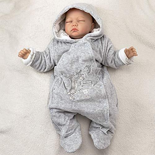 Guess how much I love you Baby Schneeanzug Unisex | Farbe: grau | Winter Overall mit Kapuze für Neugeborene & Kleinkinder | Größe: 74 (6-9 Monate)