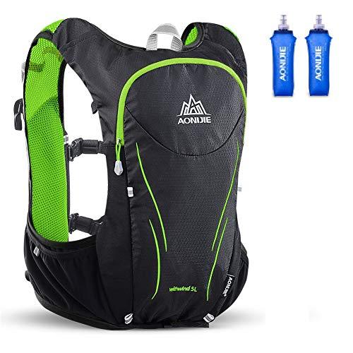 AONIJIE Mochila de hidratación de 5 l, chaleco para carga de 2 litros, senderismo, camping, maratón, con 2 botellas de agua de 500 ml, (negro + verde + 2 unidades de 500 ml, S/M)