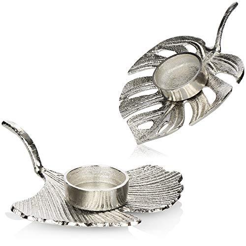 com-four® 2X Teelichthalter aus Metall - dekorativer Kerzenständer in Blatt Form - Kerzenhalter mit verschiedenen Motiven [Auswahl variiert!]