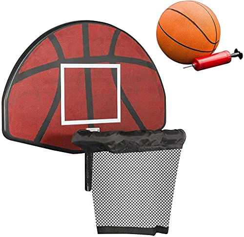 GBU Trampoline Basketball Hoop with Mini Inflatable Ball & Pump Easy Set, Attachment for Straight Net Poles (Red, 23.6 in (L) x 15.7 in (H))