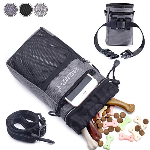 AMZNOVA Futterbeutel Hunde, Futtertasche für Hundetraining, Hunde Leckerlie Beutel mit Mehreren Taschen, 4 Tragearten, Grau
