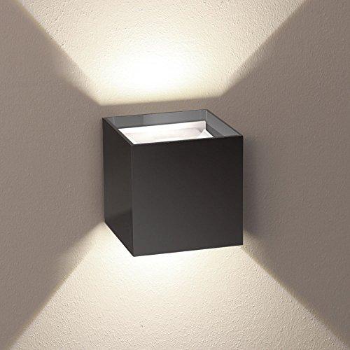 s.LUCE Ixa LED Wandleuchte anthrazit mit verstellbaren Winkel als Fassadenbeleuchtung Aussenlampe Up&Down Lichtkegel Effekte für Aussenlampen mit einstellbaren Klappen für gewünschte Winkel Abstrahlung
