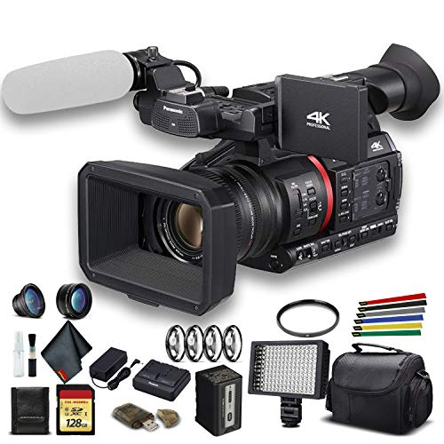 Panasonic AG-CX350 4K Camcorder (AG-CX350) W/Padded Case, 128 GB Memory Card, Lens Attachments, Wire Straps, LED Light, and More