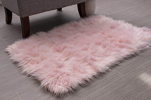 Serene Super Soft Faux Sheepskin Shag Silky Rug Baby Nursery Childrens Room Rug Light Pink, 2' x 3'