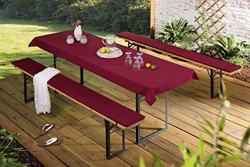 Auflagenset für Bierzeltgarnitur gepolsterte Bierbankauflagen 25 x 225 cm & Tischdecke 90 x 240 cm/Bordeaux Rot