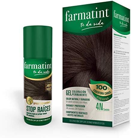 Pack Farmatint - Tinte 4N Castaño + Stop Raíces Castaño Oscuro - Color natural y duradero - Componentes vegetales y aceites naturales - Sin amoníaco - ...