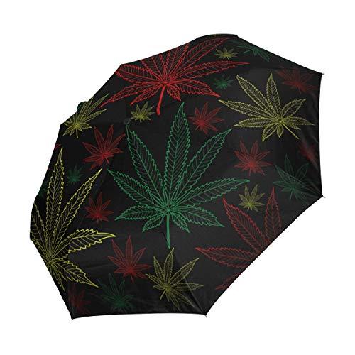 Ahomy - Paraguas de Viaje Compacto, diseño de Hojas de Marihuana, Resistente al Viento, Cierre automático, Mango Antideslizante para un fácil Transporte
