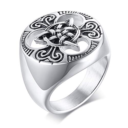 VNOX Stainless Steel Viking Celtic Cross Irish Knot Triquetra Trinity Triangle Signet Ring Band for Men,Size 12