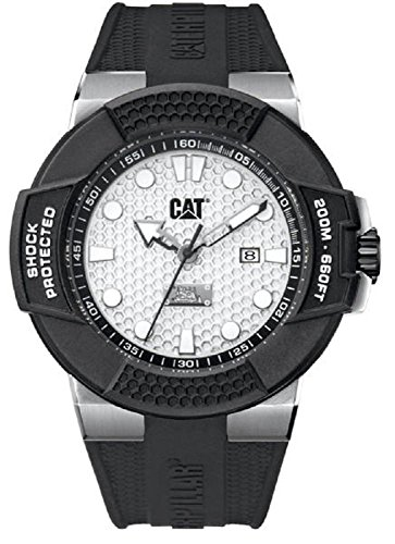 Caterpillar CAT Shockmaster Silver Dial 48MM Black Silicone Strap Men's Watch SF14121212