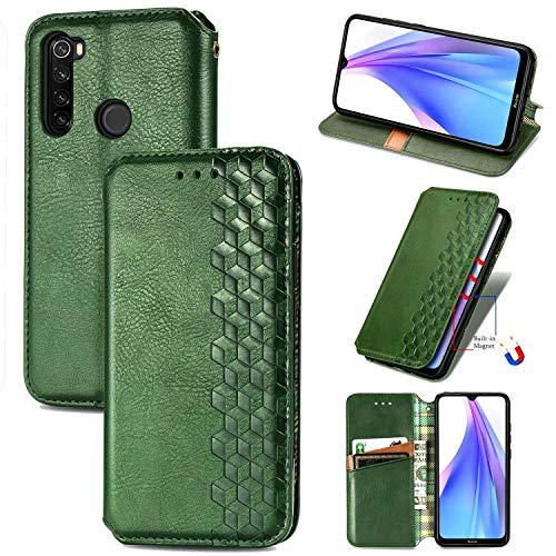 Bear Village Hülle für Xiaomi Redmi Note 8T, PU Leder Flip Handyhülle für Xiaomi Redmi Note 8T, Brieftasche Schutzhülle mit Standfunktion & Kartenfächer, Grün