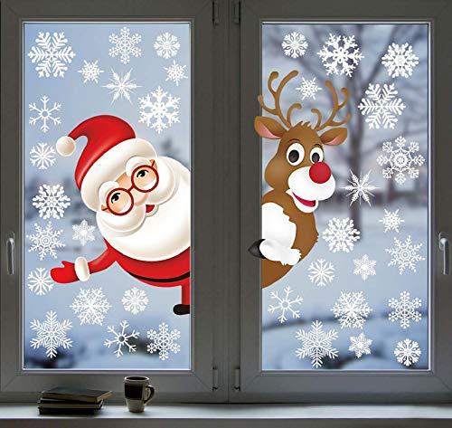 UMIPUBO Weihnachten Aufkleber Fenster Deko Schneeflocken Seitwärts Elch Santa Fensteraufkleber Fensterbild Entfernbarer Elektrostatischer Weihnachtssticker Fensterdeko Weihnachtsdeko