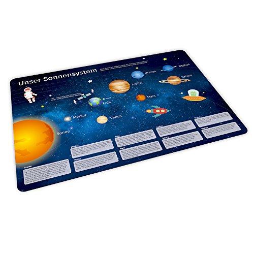 stabiles Vinyl Tischset mit Lerneffekt für Kinder - Sonnensystem - Platzdeckchen Platzset - BPA frei - abwaschbar reißfest farbecht - Geschenk Schuleintritt Schulanfang Einschulung