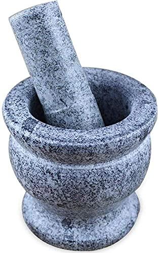 AWJ Juego de mortero de mortero, Piedra Natural, Duradero Juego de mortero de mortero, sin pulir, Granito Pesado en Polvo, sartén para Pugging, Hierbas, Molinillo de ESP