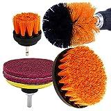 Kagni Spazzola per Trapano - Confezione da 4 Drill Brush Power Scrubber, Setola Media rigidità, Perfetto per la Pulizia Toilette Cucina Bagno Doccia Piastrelle Lavello Auto (Orange)