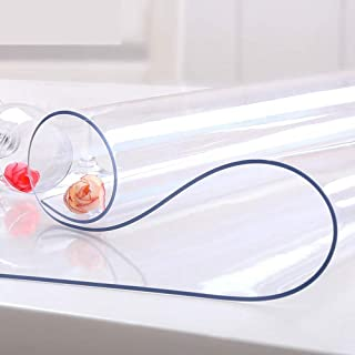 NECAUX Custom Multi-Size 1.5mm Thick Clear PVC Table Cover Protector - 42 x 76 Inch Eco Plastic Vinyl Rectangle Desk Offic...