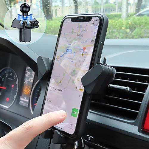 VANMASS Handyhalterung Auto Automatisch-Lock Handyhalter Fürs Auto Metallgestell mit 2 Lüftungsclips 2.0 Universal KFZ Handyhalterung Lüftung Schwerkraft Für iPhone Samsung Huawei alle Smartphone