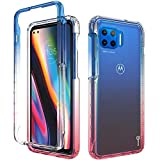 CoverON Schutzhülle für Motorola Moto One 5G / Moto G 5G+ Plus, Farbverlauf-Design, transparent, robust, Blau / Pink