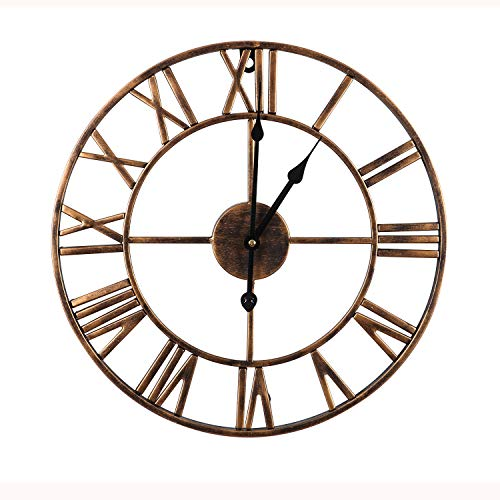 Mengshen Reloj De Pared con Números Romanos Gigantes - 19.7 Pulgadas, Dorado