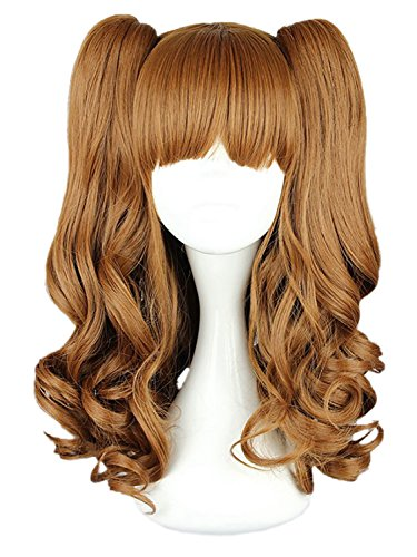 CLOCOLOR Halloween Cosplay Peluca de Dos Colas de Caballo Peinado para Mujer Chica Peluca de Pelo Rizado Sintético Natural Postizo Largo Rizado Infantil Halloween Club Color Marrón