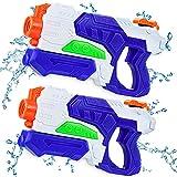 lenbest 2 Pack Pistola de Agua, 600ML Pistola de Chorro de Agua con Alcance de 10 M, Pistolas de Agua para Niños, Agua Verano Juguetes de Agua Juego en Jardín, Playa, Piscina al Aire Libre