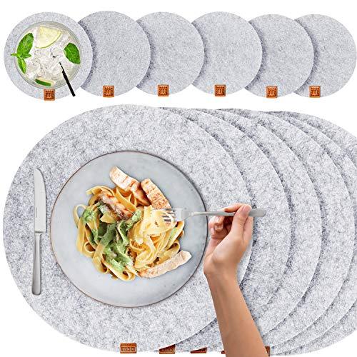 Miqio® - Filz und Leder - Design Platzsets (Rund) - Set mit 6 waschbaren Premium Tischsets 37 cm und 6 Getränkeuntersetzern (Graumeliert)…