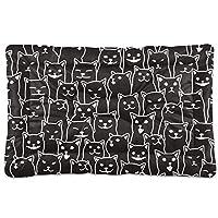 Chovy ペットベッド ペットクッション 猫ベッド 犬ベッド ペットソファ 黒猫 猫柄 ネコ おもしろ クール 個性 洗える 小型 中型 猫 犬用 ペット用マット 暖かい 滑り止め 防寒 長方形 防水 速乾 2サイズ