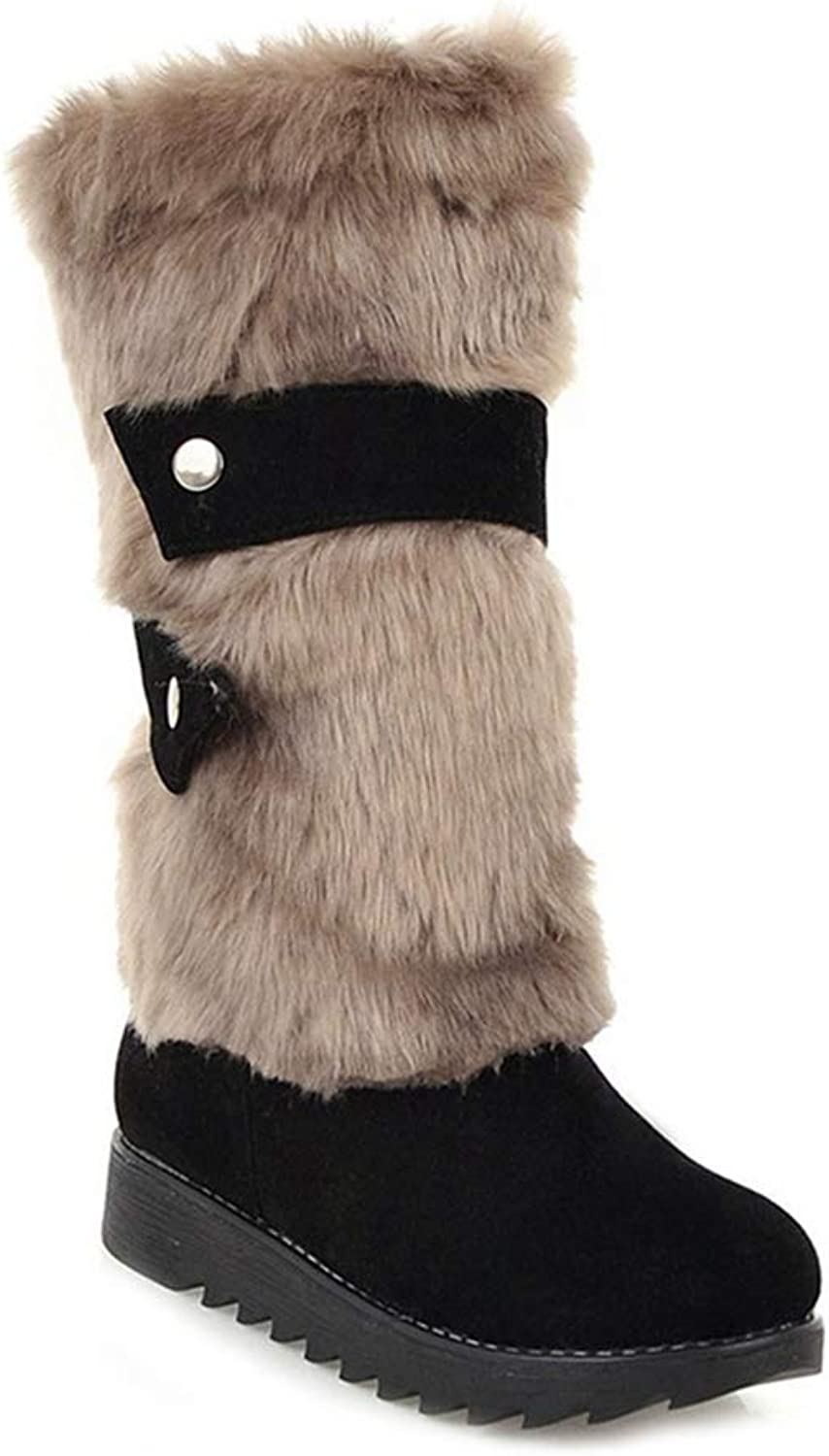 GIY Women's Faux Fur Winter Snow Boots Mid Calf Suede Buckle Slip On Flat Low Heel Wide Warm Snow Boots