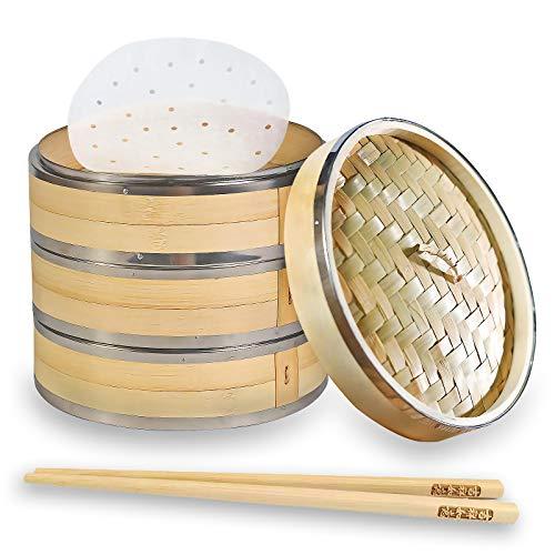 Qualität Bambusdämpfer Bio, mit 3 Ebenen inkl. Deckel - Ideal für Dumplings, süßen Reis, oder Gemüse dämpfen (Enthält 10 Paar Bambus - Essstäbchen und 100 Stücke Runde Dampfgarer Papier) 27cm
