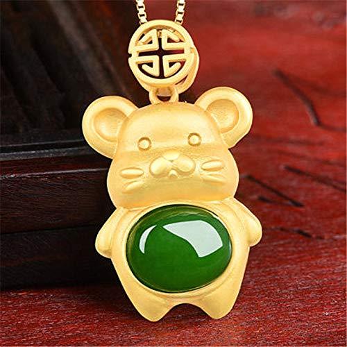 QKL Klassische Silber Eingelegte Hetian Jade Anhänger Halskette Für Frauen, Einfache Fette Maus Anhänger