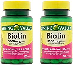 Spring Valley Biotin Softgels, 5000 Mcg, 120 Count (Pack of 2)